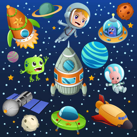 A vector illustration of space planet and astronaut poster