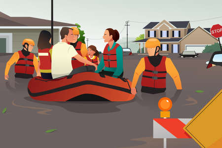 A vector illustration of rescue team helping people by pushing a boat through a flooded road