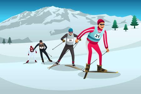 Une illustration vectorielle des athlètes de ski de fond en compétition