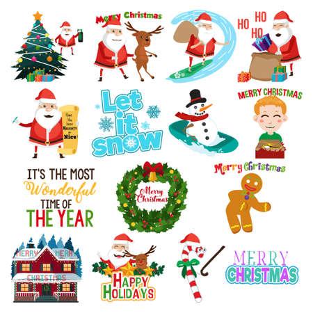A vector illustration of Christmas clip arts  Illustration