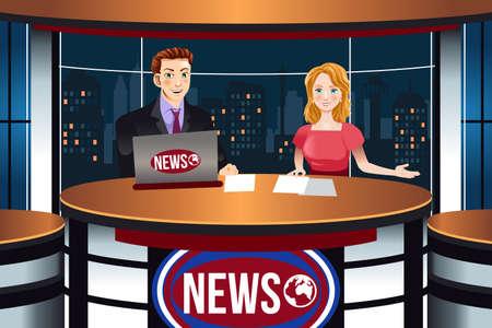 A vector illustration of TV News Anchors Stock Vector - 91414693