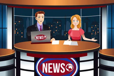 A vector illustration of TV News Anchors