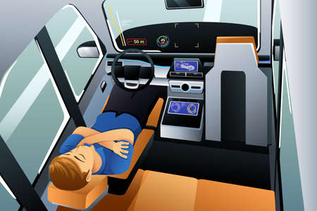 A vector illustration of Man Sleeping in Self Driving Car