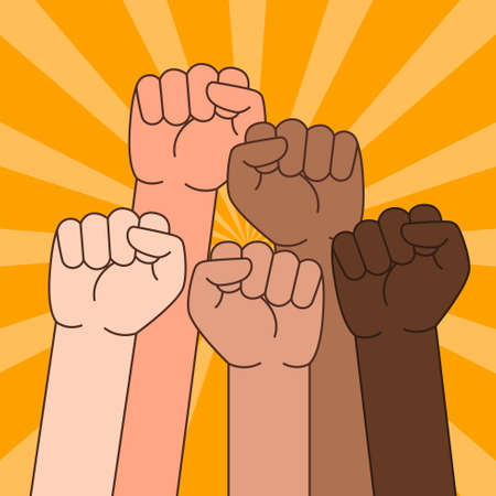 A vector illustration of Multi Ethnic People With Raised Fist Stock fotó - 91414695