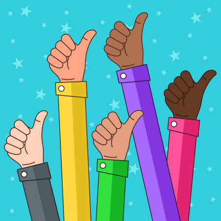 A vector illustration of Multi Ethnic Thumbs up