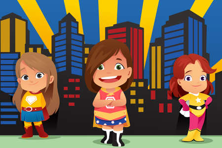A vector illustration of Three Little Girls Wearing Superheroes