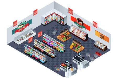 Une illustration de vecteur de supermarché épicerie en isométrique