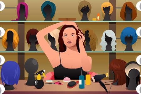 Une illustration de vecteur de femme essayant sur la perruque Illustration