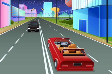 A vector illustration of Self Driving Car in Futuristic City