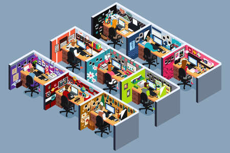 A vector illustration of Business Office Cubicles in Isometric  Illustration