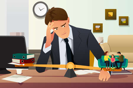 A vector illustration of Stressed Businessman Choosing Between Career and Family