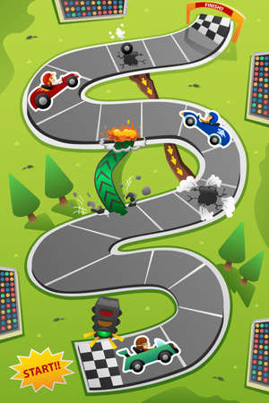 A vector illustration of Car Racing Board Game