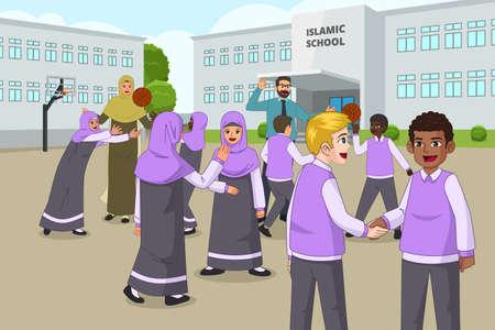 Une illustration vectorielle des enfants musulmans jouant dans le terrain de jeu scolaire pendant la récréation