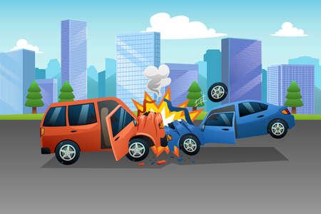 Un vettore di due auto in un incidente