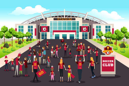 A vector illustration of Soccer Fans Going to Stadium