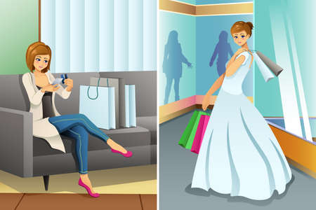 A vector illustration of Woman Shopping Online and at Mall for Her Wedding