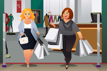 A vector illustration of Women Shopping in a Mall