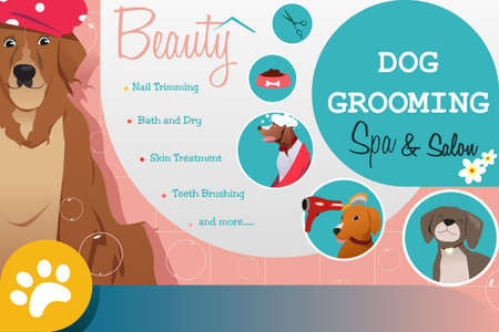 A vector illustration of Dog Grooming Salon Poster  Vectores