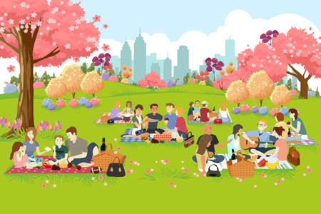 A vector illustration of People Having Picnic at the Park During Spring
