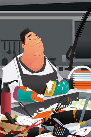 Een vectorillustratie van afwasmachine werken in een commerciële keuken