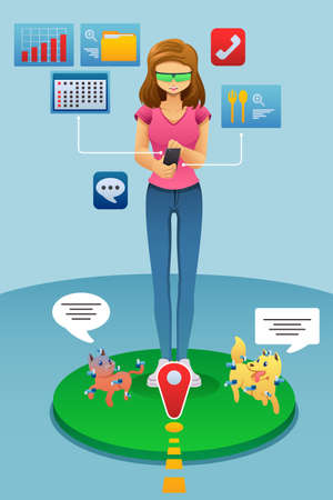 A vector illustration of Woman Playing Augmented Reality Game on Her Phone Illustration