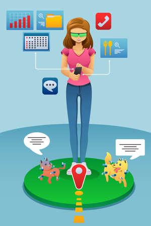 Une illustration de vecteur de jeu de réalité augmentée de femme sur son téléphone Illustration