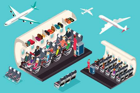 Eine Vektor-Illustration von isometrischen Blick auf das Innenraum eines Flugzeugs
