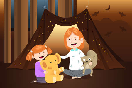 A vector illustration of Mother and Daughter Playing Dolls at Home