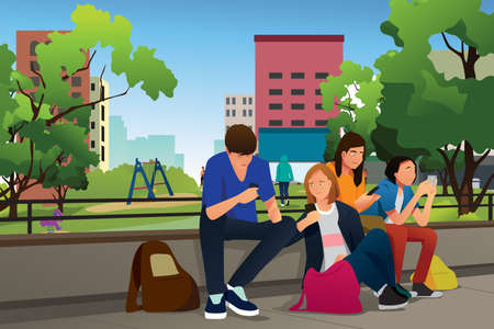 A vector illustration of Teenagers Using Their Phones Outdoor