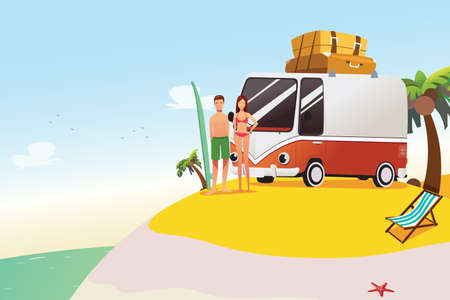 A vector illustration of Couple Going on Surfing Summer Vacation