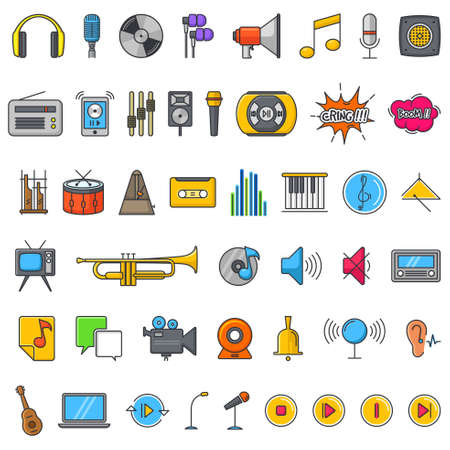 A vector illustration of Multimedia Audio Sound Icons