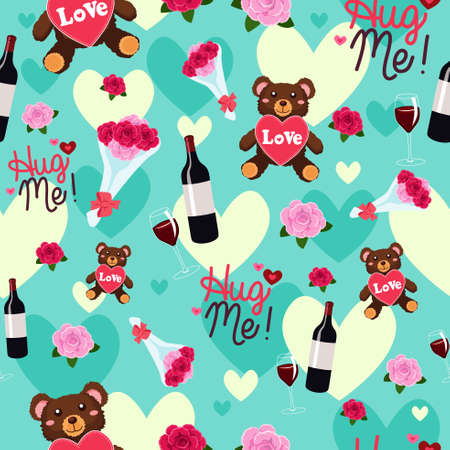A vector illustration of valentine day wallpaper seamless pattern background Illustration