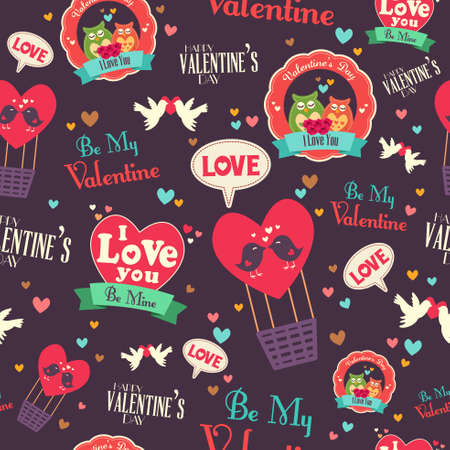 A vector illustration of valentine day wallpaper seamless pattern background Illustration