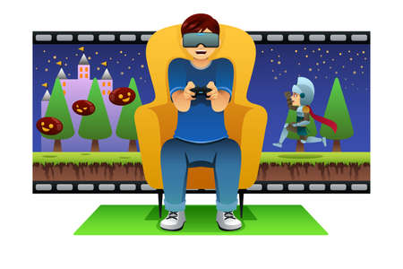 A vector illustration of Man Playing Virtual Reality Game