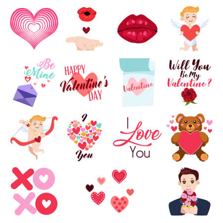 A vector illustration of Valentine Day Icons and Clip Arts