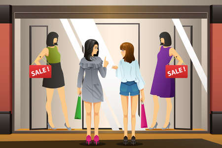 A vector illustration of Women Window Shopping in Front of a Clothing Store