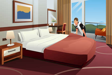 A vector illustration of Cleaning Lady Making the Bed in a Hotel