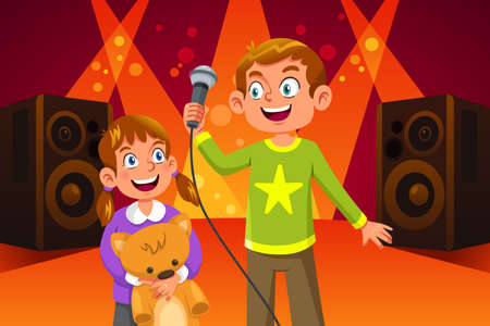 A vector illustration of Happy Children Singing
