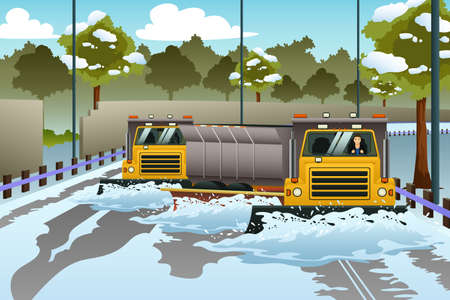 A vector illustration of Snow Plow Trucks Clearing The Road From Snow