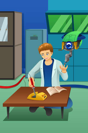 A vector illustration of Man Working on Electronic Device With Robot Help