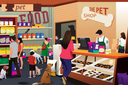 A vector illustration of People Shopping For Their Pets at Pet Shop