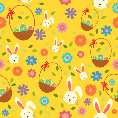 A vector illustration of Easter Bunny Eggs and Spring Wallpaper Seamless Pattern Background