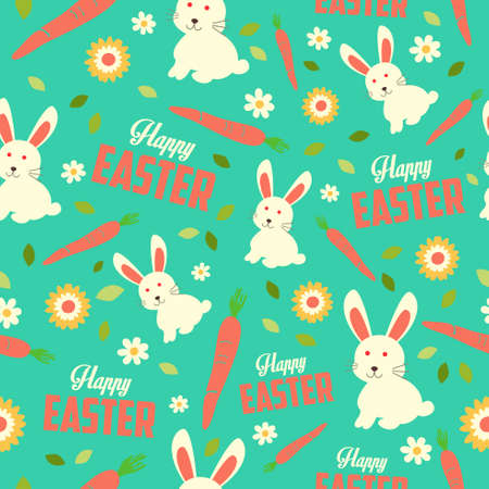 A vector illustration of Easter Bunny and Spring Wallpaper Seamless Pattern Background