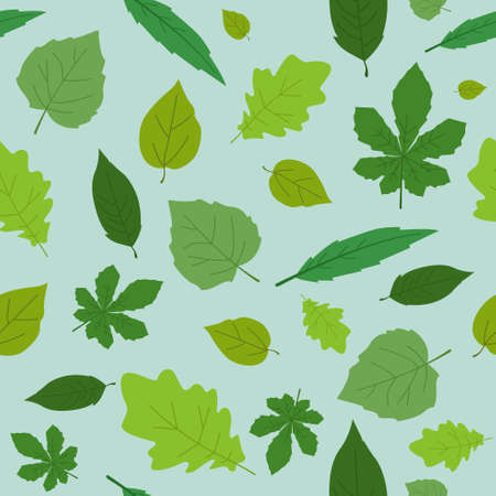 A vector illustration of Different Leaves Wallpaper Seamless Pattern Background