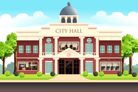 市役所ビルのベクトルイラスト。  イラスト・ベクター素材
