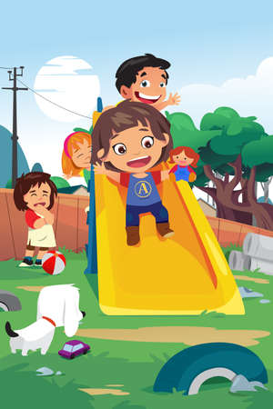 A vector illustration of Kids Playing in the Playground.