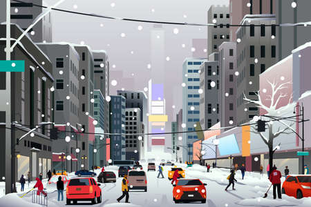 A vector illustration of People Walking in the City During Winter Storm.
