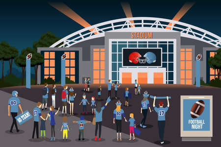 A vector illustration of American Football Fans Going to Stadium.