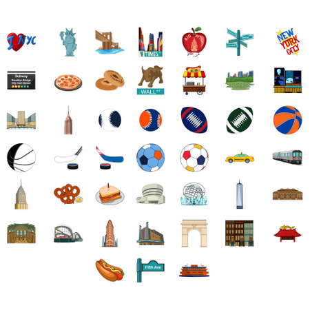 A vector illustration of All Things Related to New York City Icons. Illustration