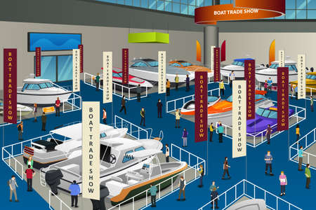 A vector illustration of People Attending Boat Show. Illustration